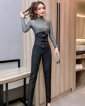 Knitted high waist pencil pants elasticity tops 3pcs set