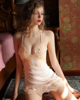 Imitation silk lace frenum sexy night dress