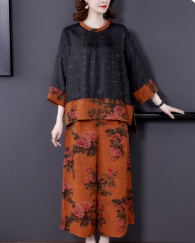 Fashion retro real silk wide leg pants 2pcs set