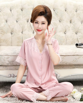Short sleeve spring and summer pajamas silk long pants a set
