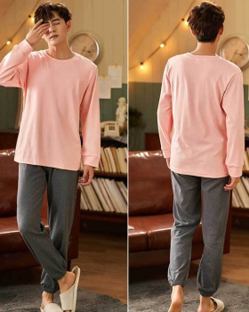 Casual at home long sleeve long pants 2pcs set for men