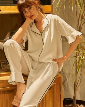 Spring and summer pajamas long pants 2pcs set for women