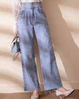 Wide leg spring light color high waist jeans for women