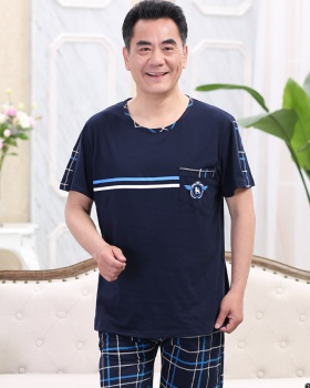 Middle-aged thin pajamas summer large yard shorts a set for men