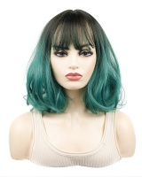 Gradient short black headgear colors dark-green wig for women