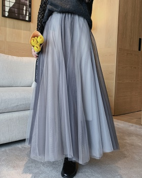 Pleated double color long spring and summer gauze big skirt skirt