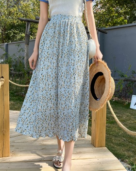 Chiffon all-match floral skirt pleated spring long skirt