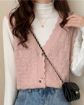 Knitted college lace pure waistcoat