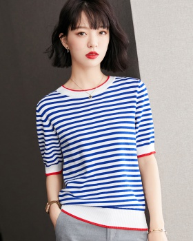 Knitted summer British style short sleeve T-shirt for women