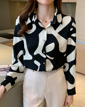 Printing small shirt all-match chiffon shirt for women