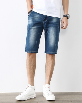 Thin Casual five pants slim Korean style short jeans for men