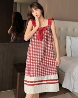 Sexy cotton plaid pajamas woven sling summer night dress