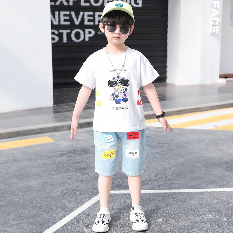 Child short sleeve boy kids summer big child shorts 2pcs set