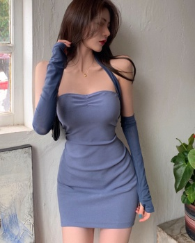 With cuff horizontal collar dress for women