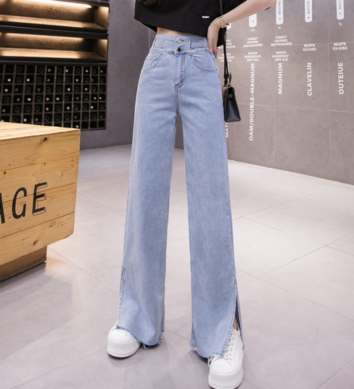 Korean style wide leg pants high waist jeans for women