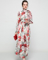 Big skirt rose lantern sleeve dress printing chiffon long dress