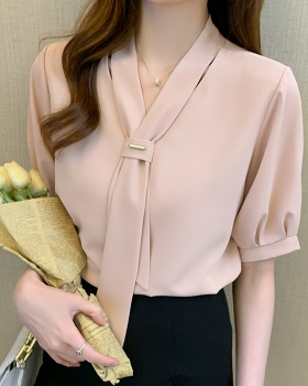 Temperament chiffon tops Western style small shirt for women