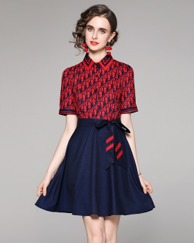 Pinched waist printing slim with belt short sleeve dress