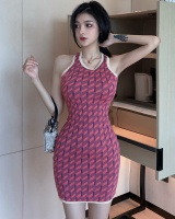 Hollow mixed colors dress knitted sexy strap dress