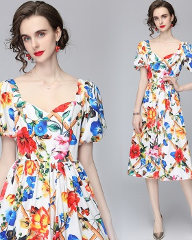Temperament ladies puff sleeve France style floral dress