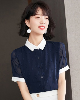 Summer Korean style tops retro pinched waist shirt