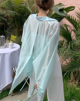 Chiffon real silk perspective summer sun shirt for women