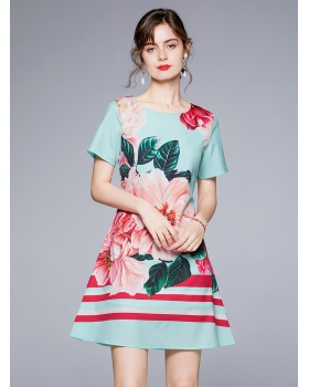 European style fashion slim all-match printing dress
