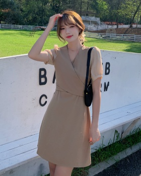 Bandage summer princess sleeves splice V-neck dress