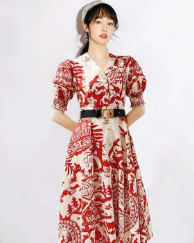 Retro European style temperament dress for women