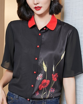 Real silk Western style printing short sleeve ice silk shirt