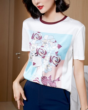 Summer short sleeve small shirt real silk silk T-shirt