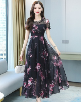 Spring temperament long dress exceed knee chiffon dress