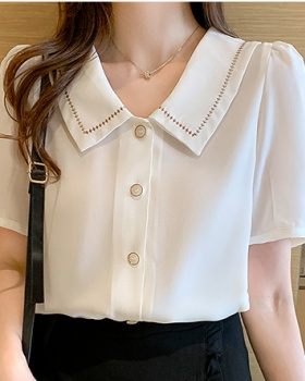 Unique summer tops doll collar chiffon shirt for women