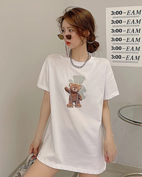 Loose rhinestone summer T-shirt for women