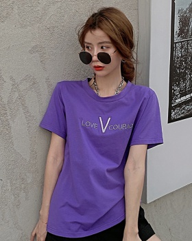 Round neck summer tops hollow T-shirt for women