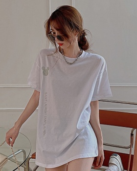Rhinestone loose white long short sleeve summer T-shirt