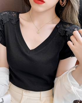 Hollow V-neck T-shirt short autumn tops for women