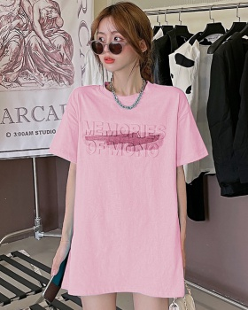 Summer short sleeve T-shirt long couple clothes for women