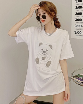 Letters loose T-shirt rhinestone summer tops for women