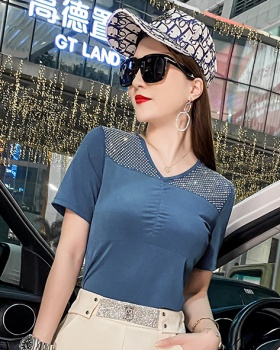 Short sleeve summer tops V-neck hollow T-shirt for women