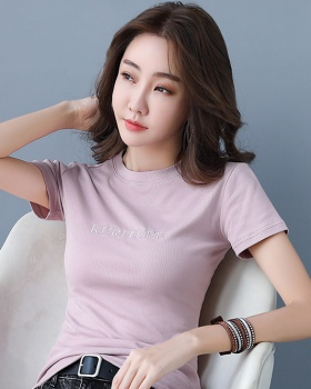 Short sleeve simple autumn high elastic slim T-shirt