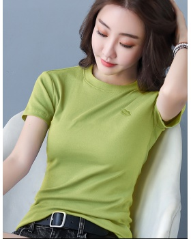 Embroidery slim small lip short sleeve T-shirt