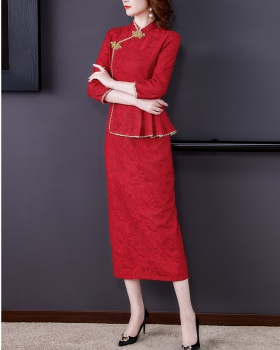 Spring and autumn Chinese style cheongsam lace dress for women