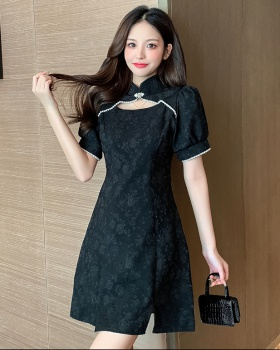 Black temperament retro slim summer dress