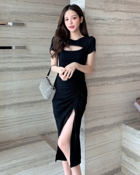 Summer retro long France style black dress