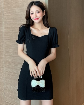 Black retro temperament summer dress for women