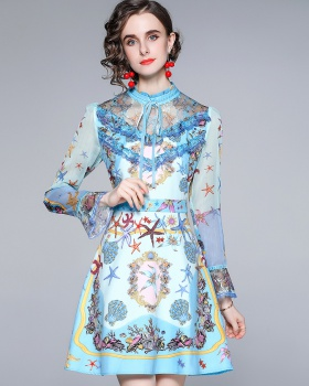 Lace speaker printing cstand collar dress for women