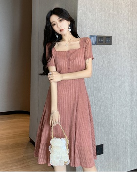 Square collar long dress France style dress for women