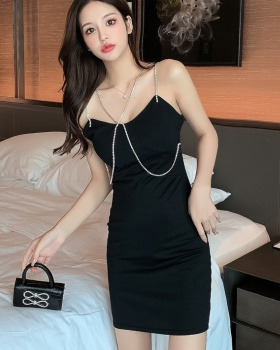 Temperament summer sexy V-neck sling bottoming dress