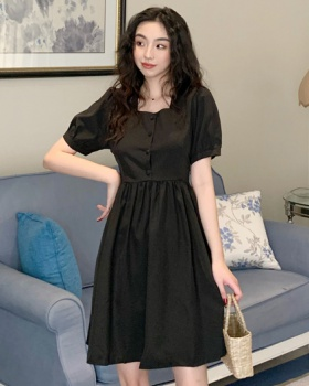 Black pinched waist retro temperament dress for women